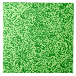 William Morris Indian, Lime and Kiwi Green Large Square Tile
