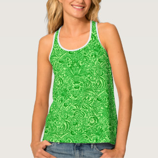 William Morris Indian, Lime and Kiwi Green Tank Top