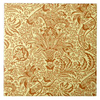 William Morris Indian, Mustard Yellow and Gold Large Square Tile