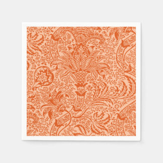 William Morris Indian, Peach and Coral Orange Paper Napkin