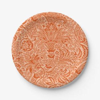 William Morris Indian, Peach and Coral Orange Paper Plate