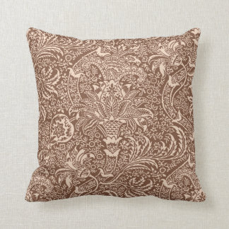 William Morris Indian, Taupe Tan and Beige Cushion