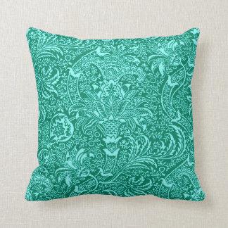 William Morris Indian, Turquoise and Light Aqua Throw Pillow