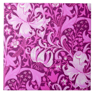 William Morris Iris and Lily, Amethyst Purple Large Square Tile