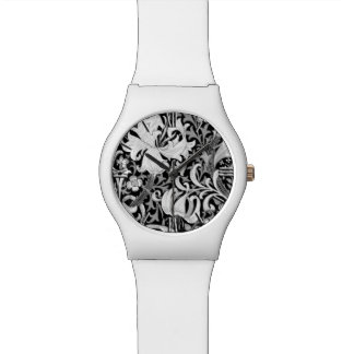 William Morris Iris and Lily, Black and White Wristwatch