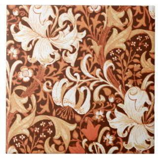 William Morris Iris and Lily, Brown and Tan Large Square Tile