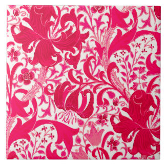 William Morris Iris and Lily, Fuchsia Pink Large Square Tile