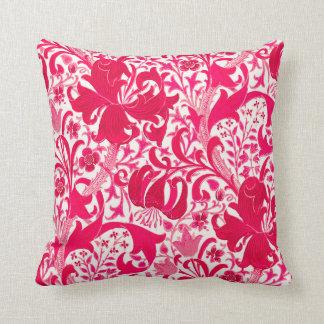 William Morris Iris and Lily, Fuchsia Pink Throw Pillow
