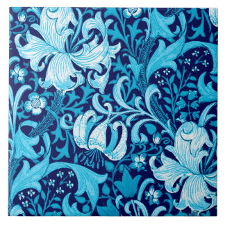 William Morris Iris and Lily, Indigo Blue Large Square Tile