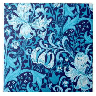 William Morris Iris and Lily, Indigo Blue Tile