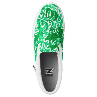 William Morris Iris and Lily, Jade Green Slip On Shoes