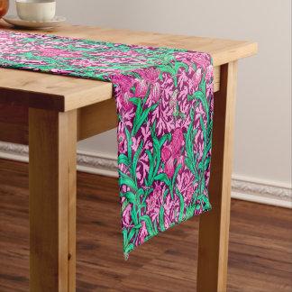 William Morris Iris Pattern, Fuchsia Pink and Wine Short Table Runner