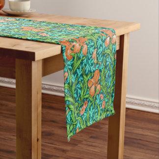 William Morris Iris Pattern, Orange and Turquoise Short Table Runner