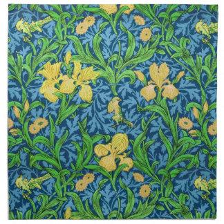 William Morris Iris Pattern, Yellow and Cobalt Blu Napkin
