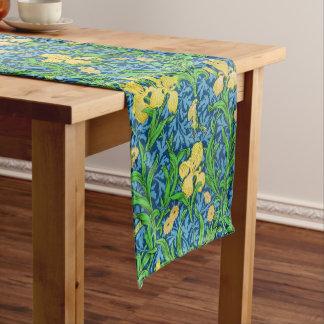 William Morris Iris Pattern, Yellow and Cobalt Blu Short Table Runner