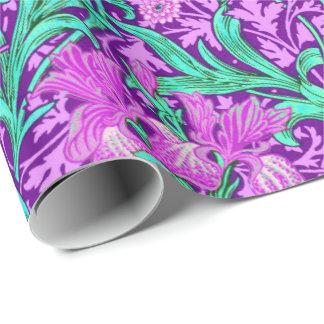 William Morris Irises, Amethyst Purple Wrapping Paper