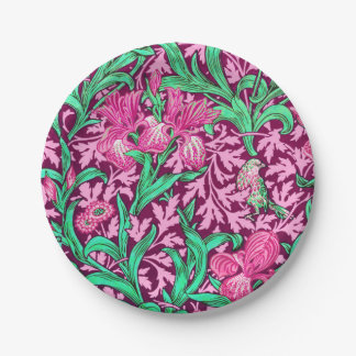 William Morris Irises, Fuchsia Pink and Wine 7 Inch Paper Plate