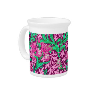 William Morris Irises, Fuchsia Pink and Wine Pitcher