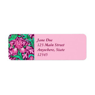 William Morris Irises, Fuchsia Pink and Wine Return Address Label