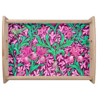 William Morris Irises, Fuchsia Pink and Wine Serving Tray