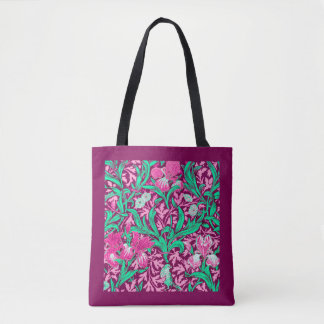 William Morris Irises, Fuchsia Pink and Wine Tote Bag