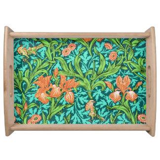 William Morris Irises, Orange and Turquoise Serving Tray