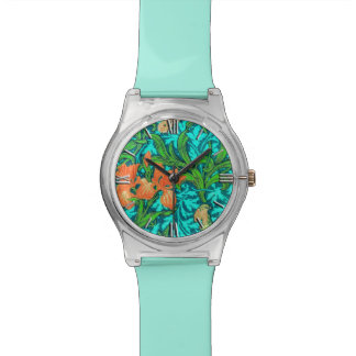 William Morris Irises, Orange and Turquoise Watches