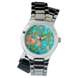 William Morris Irises, Orange and Turquoise Wrist Watch