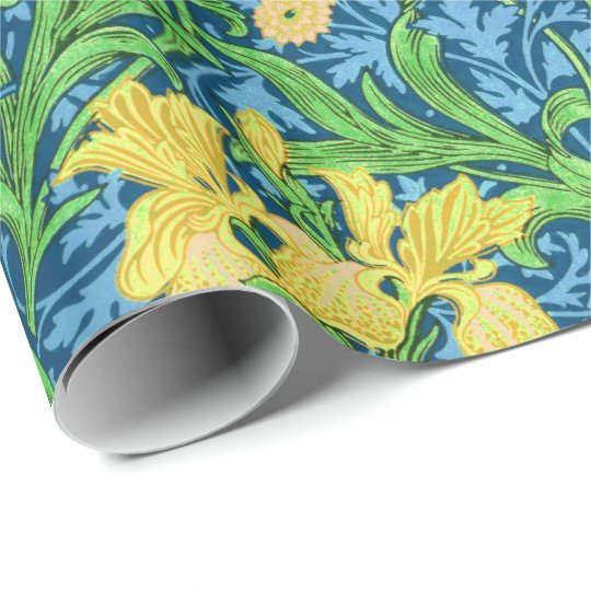 William Morris Irises, Yellow and Cobalt Blue Wrapping