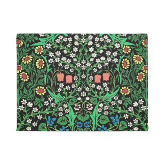 William Morris Jacobean Floral, Black Background Doormat