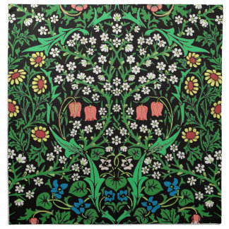 William Morris Jacobean Floral, Black Background Napkin