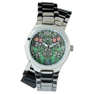 William Morris Jacobean Floral, Black Background Watch