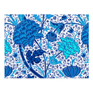 William Morris Jacobean Floral, Cobalt Blue Postcard