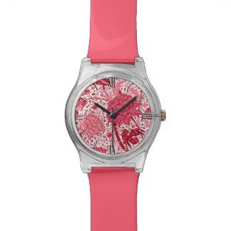 William Morris Jacobean Floral, Coral Pink Wrist Watch