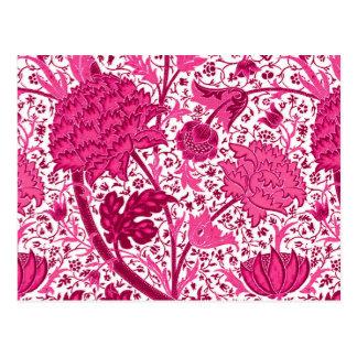 William Morris Jacobean Floral, Fuchsia Pink Postcard