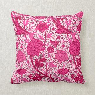 William Morris Jacobean Floral, Fuchsia Pink Throw Pillow