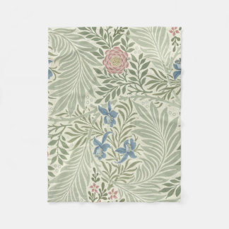 William Morris Larkspur Floral Pattern Fleece Blanket