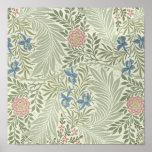 William Morris Larkspur Floral Pattern Poster