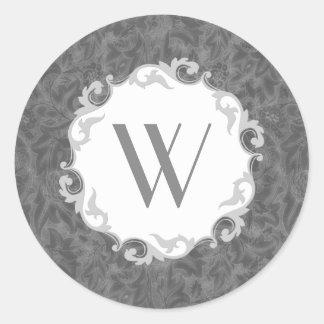 William Morris Lea Vintage Floral Monogrammed Round Stickers