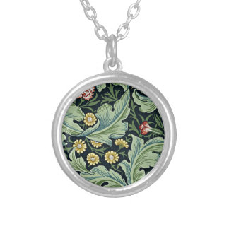 William Morris - Leicester vintage floral design Silver Plated Necklace