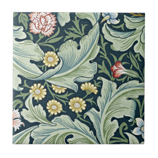 William Morris - Leicester vintage floral design Small Square Tile