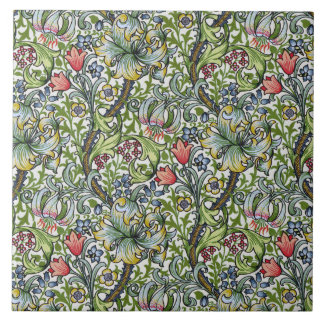 William Morris Lily Floral Chintz Pattern Art Tile
