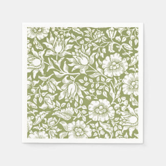 William Morris Mallow Green Pattern Disposable Napkins