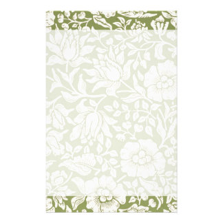 William Morris Mallow Green Pattern Stationery Design