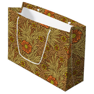 William Morris Marigold, Copper Brown and Orange Large Gift Bag