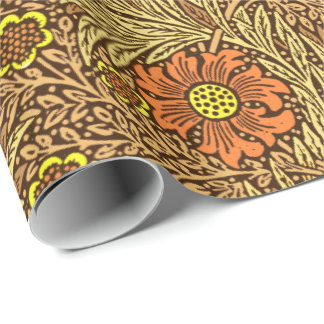 William Morris Marigold, Copper Brown and Orange Wrapping Paper