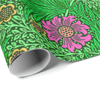 William Morris Marigold, Emerald Green & Fuchsia Wrapping Paper