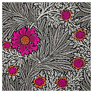 William Morris Marigold, Gray / Grey, and White Fabric