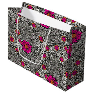 William Morris Marigold, Gray / Grey, and White Large Gift Bag