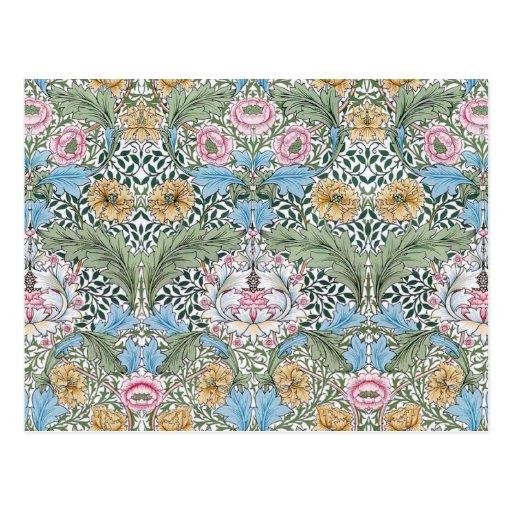 William Morris Myrtle Floral Pattern Postcard